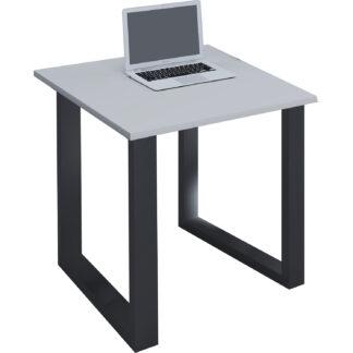 Lona U-feet skrivebord - grå træ og sort metal (80x80)