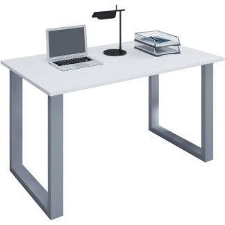 Lona U-feet skrivebord - hvid træ og sølvgrå metal (140x50)