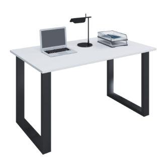 Lona U-feet skrivebord - hvid træ og sort metal (110x80)