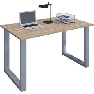 Lona U-feet skrivebord - natur træ og sølvgrå metal (140x50)