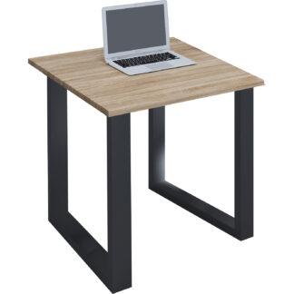Lona U-feet skrivebord - natur træ og sort metal (80x80)