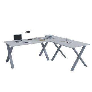 Lona X-feet hjørneskrivebord - grå træ og sølvgrå metal (190x190x50)