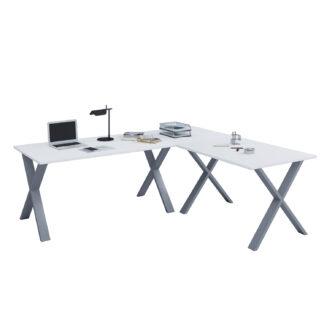 Lona X-feet hjørneskrivebord - hvid træ og sølvgrå metal (190x190x50)