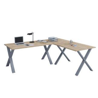 Lona X-feet hjørneskrivebord - natur træ og sølvgrå metal (190x190x50)