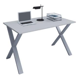 Lona X-feet skrivebord - grå træ og sølvgrå metal (80x50)