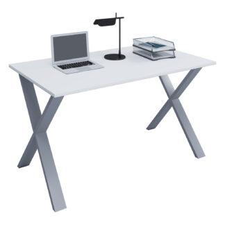 Lona X-feet skrivebord - hvid træ og sølvgrå metal (140x50)