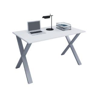 Lona X-feet skrivebord - hvid træ og sølvgrå metal (80x50)