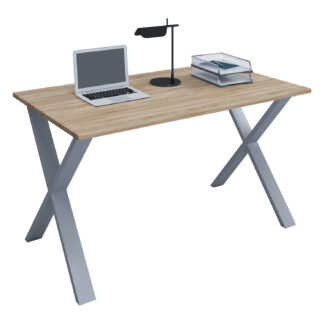 Lona X-feet skrivebord - natur træ og sølvgrå metal (140x50)