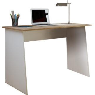 Masola Maxi skrivebord - hvid og natur træ (110x50)
