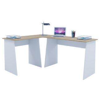 Masola hjørneskrivebord - hvid og natur træ
