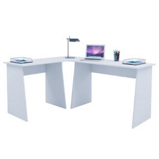 Masola hjørneskrivebord - hvid træ