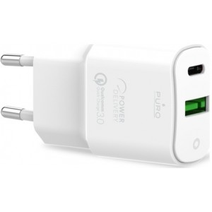 Puro White Wall Charger 1 Usb-c + 1 Usb-a 20w Bulk - Oplader