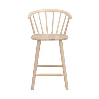ROWICO Carmen barstol, m. ryglæn, armlæn og fodstøtte - hvidpigmenteet gummitræ