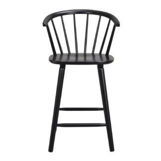 ROWICO Carmen barstol, m. ryglæn, armlæn og fodstøtte - sort gummitræ