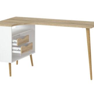 TVILUM Delta skrivebord - egestruktur/hvid træ m. 2 skuffer