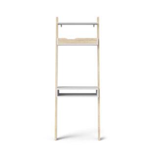 TVILUM Delta skrivebord - hvid/egestruktur træ m. 2 skuffer