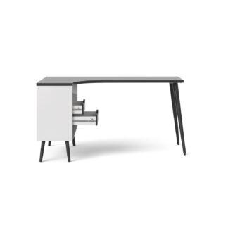 TVILUM Delta skrivebord - sort/hvid træ m. 2 skuffer