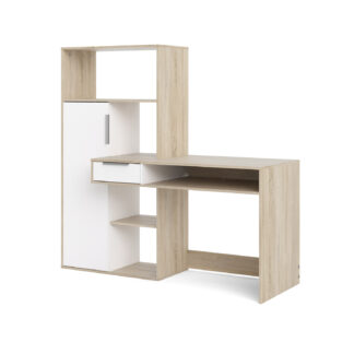 TVILUM Function Plus skrivebord - egetræsstruktur/hvid, m. 1 låge og 1 skuffe
