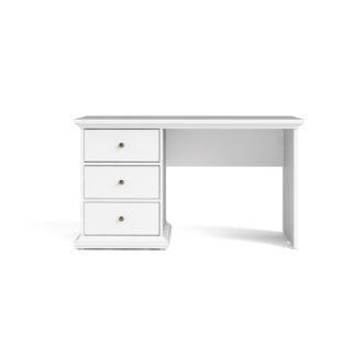 TVILUM Paris skrivebord - hvid træ, med 3 skuffer