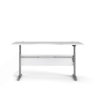 TVILUM Prima hæve sænkebord - hvid og sølvgrå stål, rektangulær (180x90)