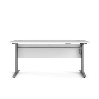 TVILUM Prima hæve sænkebord - hvid/sølvgråt stål (150x80)