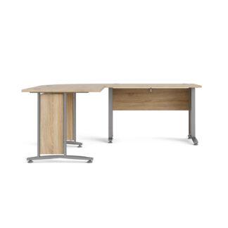 TVILUM Prima hjørneskrivebord - egestruktur m. stålstel, m. 4 skuffer