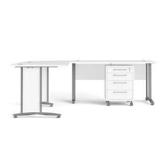 TVILUM Prima hjørneskrivebord - hvid træ m. stålstel, m. 4 skuffer