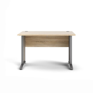 TVILUM Prima skrivebord - egetræsstruktur og sølvgrå stål (150x80)