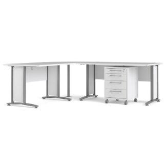 TVILUM Prima skrivebord - hvid træ m. stålstel, m. skuffer
